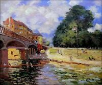Alfred Sisley Bridge at Hampton Court Repro, Hand Painted Oil Painting 20x24in