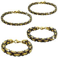 Schwarz Golden 22cm Armband Königskette Edelstahl Herren Damen Schmuck Unisex