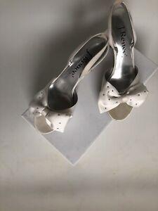J Renee High Heel Open Toe Shoe with Rhinestone Studded Bow In Box