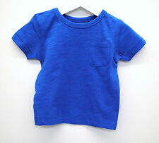 Baby Boys Ex Next T-Shirt Top Soft Cotton Plain Blue Age 18 to 24 Months Kids