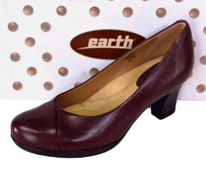 Earth Tamarack Womens 7.5 38 Platform Pumps Leather Stacked Heel Burgundy NEW