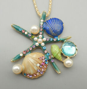 Blue Enamel Crystal Starfish Shell Conch Pendant Betsey Johnson Long Necklace