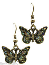 Bohemian Petite Antiqued Gold Butterfly Earrings with Iridescent Bling