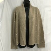 J Jill Sweater Size Large Open Front Cardigan Sequin Embellished Mohair Blend
