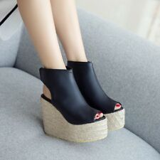 Womens Wedge High Heels Platform Creepers Sandals Open Toe Ankle Boots Shoes Sz