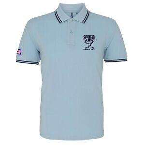 Men's Skin Head A Way Of Life Tipped Polo Shirt With Embroidered Logo.Two-Tone