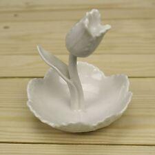 Cerámica Blanca Anillo de Flor de Porcelana Belle Fleur titular Joyería Plato ~ Tulipán