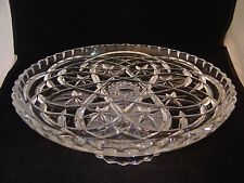 "VINTAGE PRESSED GLASS 11"" PEDESTAL CAKE STAND PLATE SCALLOPED RAISED EDGE"
