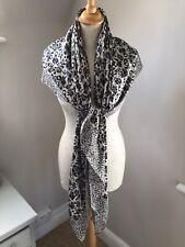 Vintage Extra Large Silk Scarf Leopard Animal  Print Black Grey