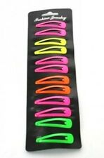 Ladies Girls Womens Fancy Dress Neon Colour 6 Pair Pack Hair Snap Clips 5cm