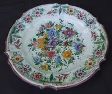 Vintage Italian Tin Glaze Majolica Pottery Shallow Bowl / Plate signed Rossi