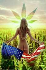 Naked Model Holding Flag In A Field Of Weed 24 x 36 Poster For The Man Cave