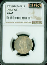1889 LARGE BUST GREAT BRITAIN SHILLING NGC MAC MS-62 FDS OR FIRST DIE STRIKE *