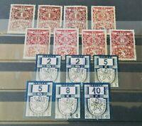 Tschechoslowakei ab1919 Revenue Stempel Fiskal Marken (Kolek) 14 Werte verwendet