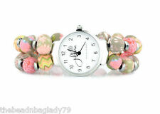New Jilzara Premium Handmade Clay 8mm Beads Coral Pink Peach Keepsake Watch