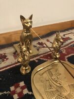 Cleopatra Sphinx Anubis Painted Gold Incense Holder Set Ancient Egyptian LOOK