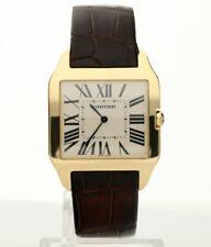 Cartier Santos Dumont 18K yellow gold #2649 watch orig brown leather strap 35 MM