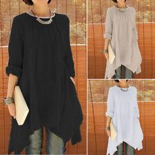 ZANZEA Women Casual Long Sleeve Crewneck Oversized Tunic Tee Shirt Blouse Tops