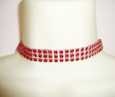 GORGEOUS RED COLOURED RHINESTONE EFFECT SPARKLE THREE ROW CHOKER NECKLACE GO