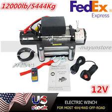12000lb 12V Electric Recovery Winch for Truck SUV Trailer Wireless Remote TN