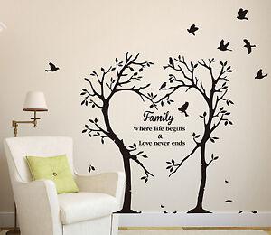 Family Love Heart Tree Wall Art Sticker, Wall Decal Tree Sticker HIGH QUALITY