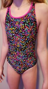 Speedo Girls One piece Racerback Black Swimsuit size 10