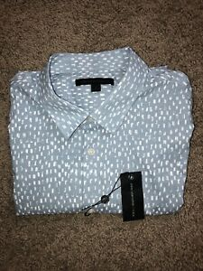 John Varavatos USA Mens Short Sleeve Woven Button Up Shirt Blue Size Large NWT