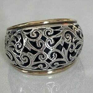 Konstantino Sterling Silver 18K Gold Band Ring Size 6