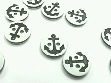 10 x small anchor white and black buttons goth emo kawaii 12mm 2 hole