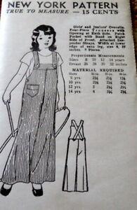 LOVELY VTG 1930s GIRLS OVERALLS NEW YORK Sewing Pattern 12 FF