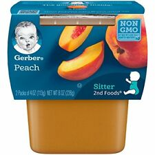 NEW Gerber 2nd Foods Peaches 4 Ounce Tubs 2 Count Pack of 8 FREE SHIPPING