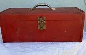 """VINTAGE 1960's Red Kennedy 19"""" Tool Box KK19 with Tray in Good Condition"""