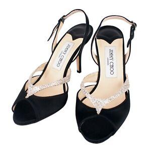 100% Authentic Jimmy Choo Latin Satin Glitter Peep Toe Slingback Sandals Heels