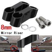 2x CNC 8MM MOTORCYCLE BIKE MIRROR RISER EXTENDER ADAPTOR / ADAPTER MOUNTS
