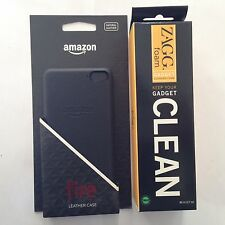 Original NEW Leather Case for Amazon Fire Phone Black + Free ZAGG Foam Cleaner