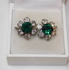 Vintage Emerald Green Sparkling Rhinestone Flower Silver Screw Earrings 2d 65