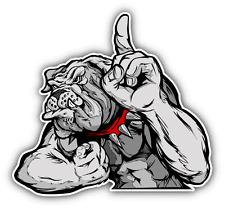"Bulldog Flexing Arms Mascot Cartoon Car Bumper Sticker Decal 5"" x 4"""