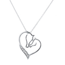 Lux Accessories Silver Tone Crystal Rhinestone Mother Child Horse Heart Necklace