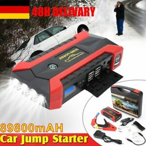 89800mAh 4USB Car Jump Starter Pack Booster Charger Battery Power Bank Rescue DE