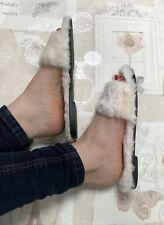 Nude fluffy sliders Size 5 Faux Fur Flip Flop Furry Flats Summer Cream