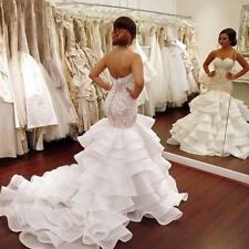 Ivory White Mermaid Wedding Dresses Lace Appliques Bridal Gowns Custom Plus Size