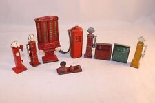 Dinky Toys -Matchbox old metal pumps and furniture and two oil bins Pre war