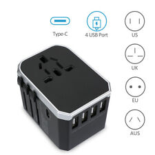 Universal World Travel Adapter Converter With 4 Usb Charger + Usa Eu Uk Aus Plug
