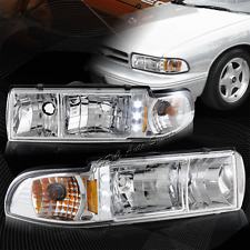 For 1991-1996 Chevy Impala/Caprice LED Chrome Housing Clear Lens Headlights Lamp