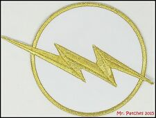 """The Flash Chest Emblem White Logo Patch 4.5"""" Costume DC Comics FREE Shipping"""