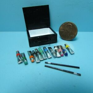 Dollhouse Miniature Artist Acrylic Tube Paint Set with Brushes and Box B0433