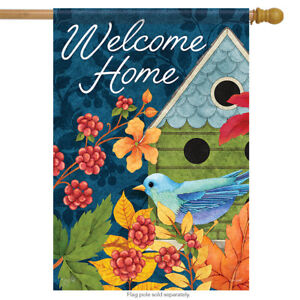 "Birdhouse & Berries Welcome Spring House Flag 2 Sided Decorative Banner 28""x40"""