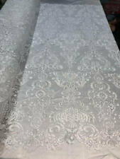 WHITE Lace Fabric By The Yard - Embroidery Sequins Mesh Bridal Wedding Dress