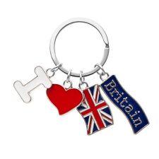 British I Love Britain Heart Union Jack Flag UK Keyring Charm Bag Purse