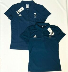 Official Olympic Polo Shirt Adidas Team GB Blue Womens Latest Kit Size XS S M L